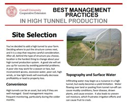 Best Management Practices in High Tunnel Production: Site Selection