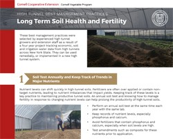 High Tunnel Best Management Practices for Long Term Soil Health and Fertility